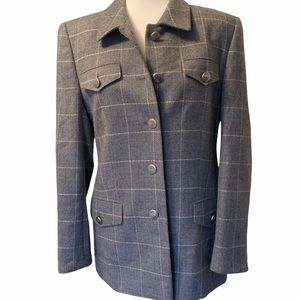 Basler Vintage Wool Tweed Riding Wome s Grey window pane Blazer Jacket